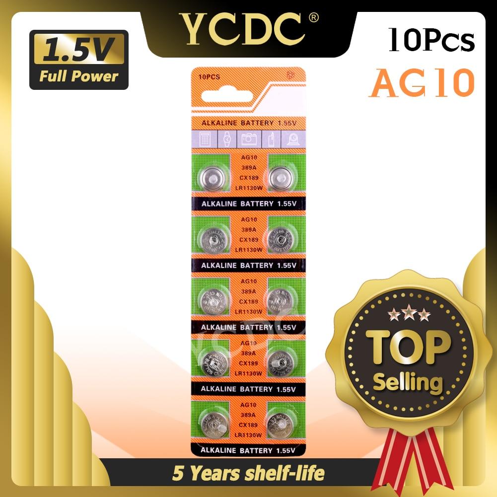 YCDC 10 шт 1,55 v AG10 LR1130 389 SR1130 кнопочные батареи 189 LR54 батареи для монет SR54 389 189 для часов компьютеров