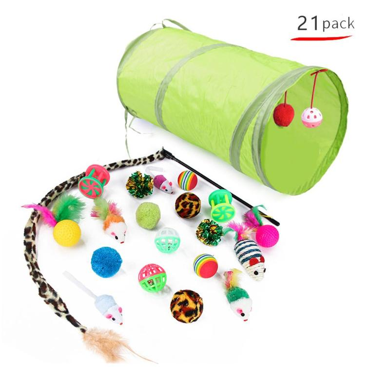 21Pcs/Set Cat Tunnel Toy Pet Cat Collapsible Tunnel Funny Kit Bell Feather Shape Dog Cat Toys Indoor Interactive Pet Accessories image