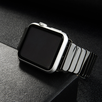 Ceramic Strap for Apple Watch Band 44mm 40mm 42mm 38mm Accessories Stainless steel butterfly bracelet iWatch series 6 5 4 3 2 se
