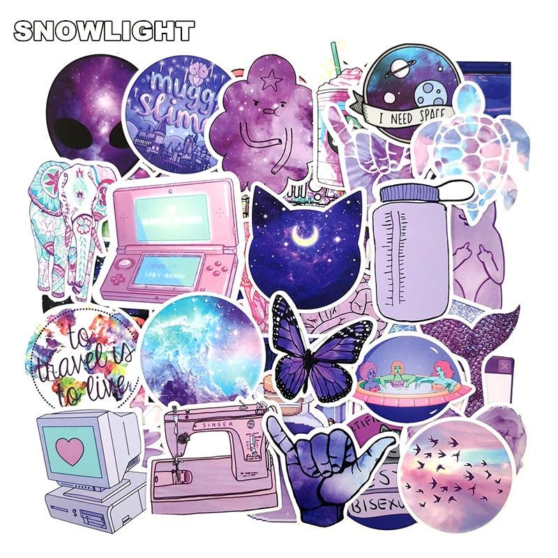 50pcs Lovely Purple Galaxy Cartoon Stickers Cartoon Funny For Laptop Skateboard Luggage Car Decals Kid's Toy Waterproof Sticker