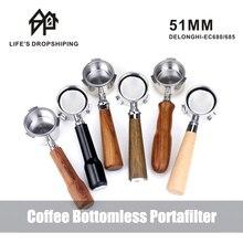 Coffee Bottomless Portafilter For Espresso 51mm for Delonghi EC685 EC680 Coffee Naked Bottomless Portafilter Coffee Accessories