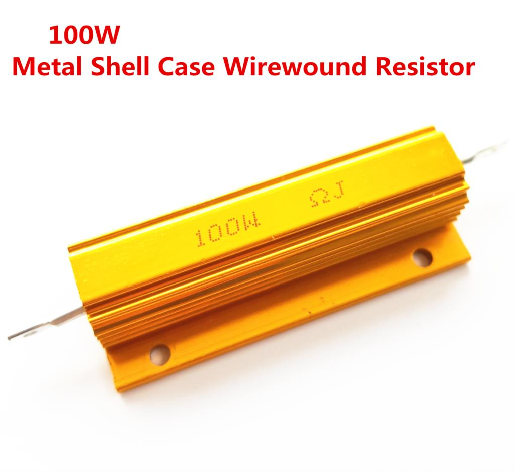 RX24 100W Watt Shell Power Metal de Alumínio Ouro Resistor 1R 2R 3R 4R 5R 6R 8R 10R 15R 20R 30R 40R 50R 100R 200R 220R