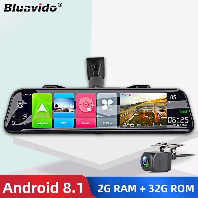 "Bluavido 12นิ้ว """" """" """" """" """" """" """" """" """" กระจกมองหลังกล้อง4G Android 8.1 Dashcam 2G RAM 32G ROMการนำทางGPS ADASเครื่องบันทึกวิดีโออัตโนมัติWiFi DVR"