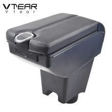 Vtear para lada largus acessórios do carro braço de couro resto caixa armazenamento usb console central interior peças decoração automóvel