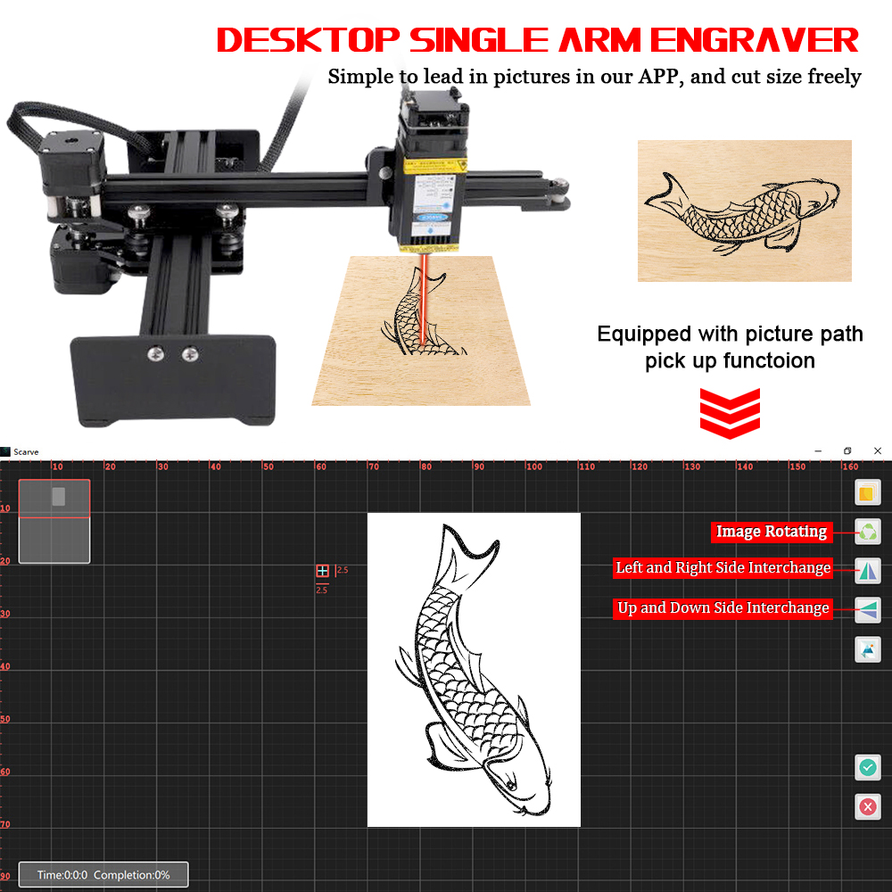 10W Desktop Single Arm Engraver Portable DIY Engraving Carving Machine Mini Carver Light Engraving Machine Cutting Plotter