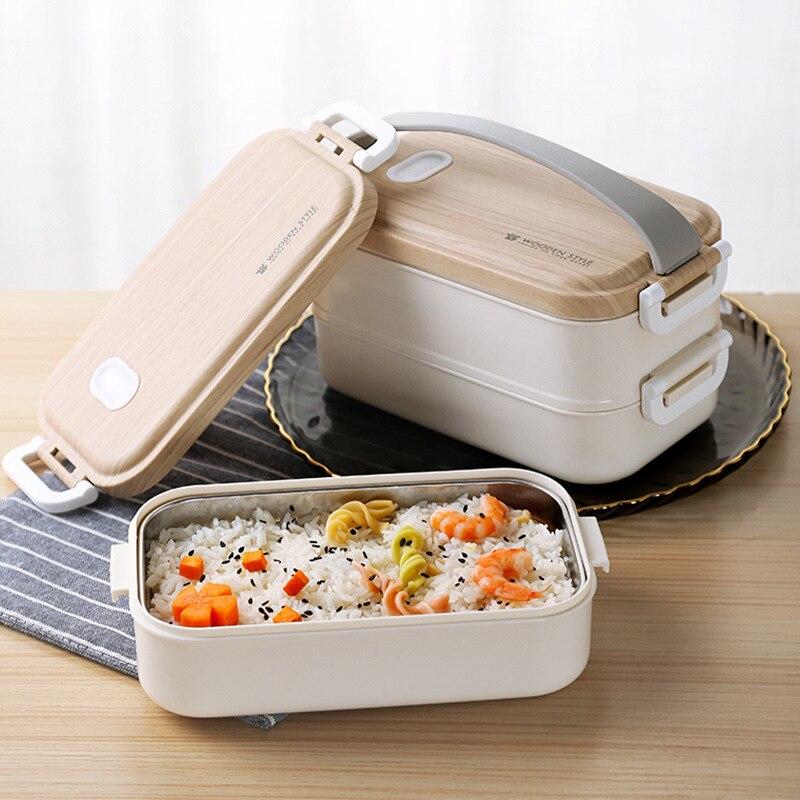 2 слоя Нержавеющаясталь здоровый Материал Коробки для обедов столовая посуда Еда контейнер для хранения коробка для завтрака Пикник Кемпи...