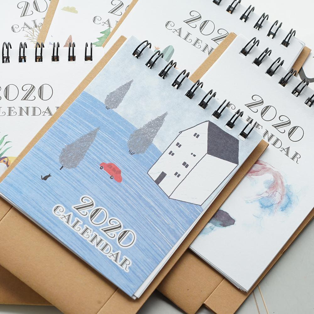 2020 New Cartoon Mini Desktop Paper Calendar Dual Daily Scheduler  Hand Drawing Table Calendars Planner Yearly Agenda Organizer