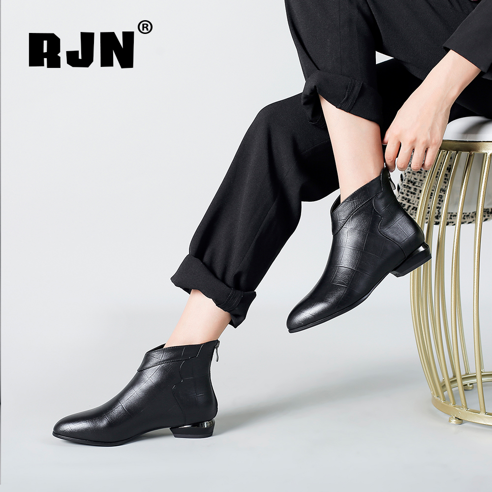 New RJN Classic Ankle Boots Genuine Leather Patchwork Design Comfortable Round Toe Strange Style Heel Zipper Shoes Women Boots RO10