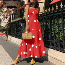 Women Off Shoulder Sleeveless Boho Long Dress New Polka Dot Print Strap Party Dress Summer Beach Sundress Ruffle Dresses цена и фото