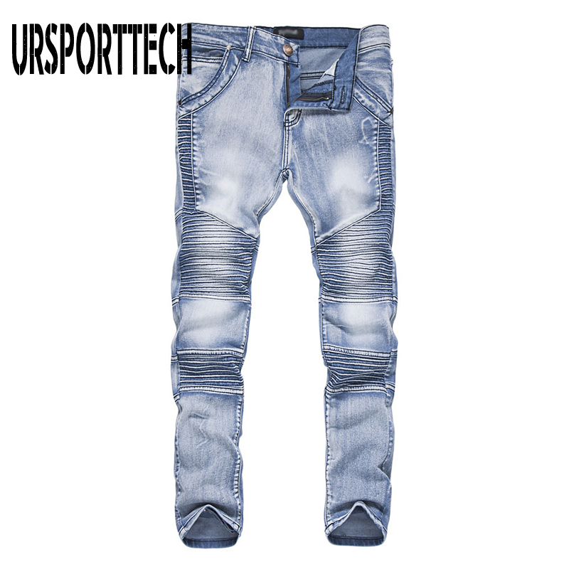 New Fashion Men's Biker Jeans Pants Slim Fit Pleated Motocycle Denim Trousers Brand Designer Straight Moto Pleated Jeans For Men