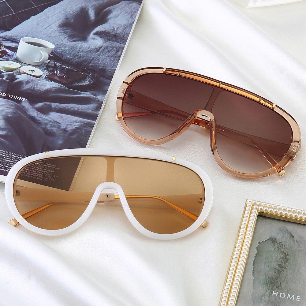 PAMASEN Fashion European America Style Siamese Metal Gradient UV400 Anti-glare Glasses For Women Sun for