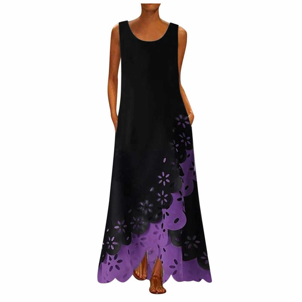 MAXIORILL maxi robe femme, bohème, manches courtes été sans manches imprimé col rond robe de plage #3