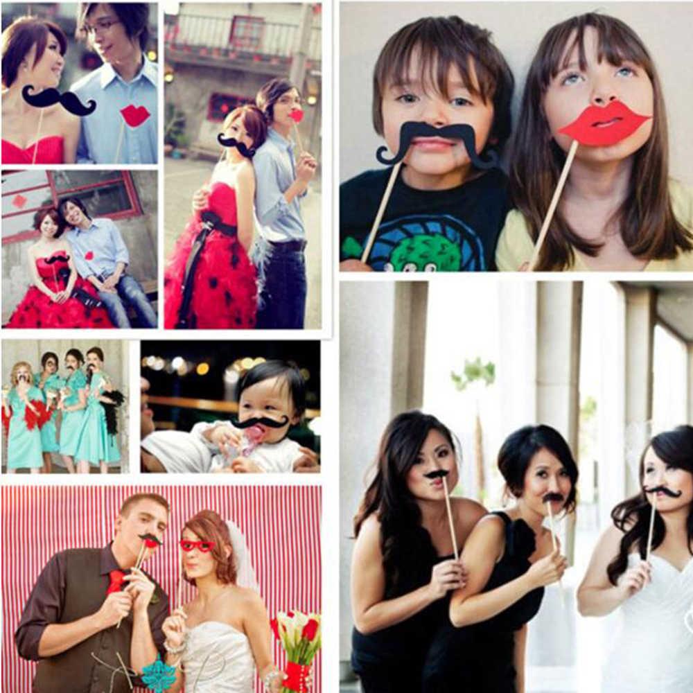 39 Pcs Ulang Tahun Foto Pesta Pernikahan Handheld Foto Pesta Ulang Tahun Dekorasi Emas Bubuk Kertas Jenggot Prop