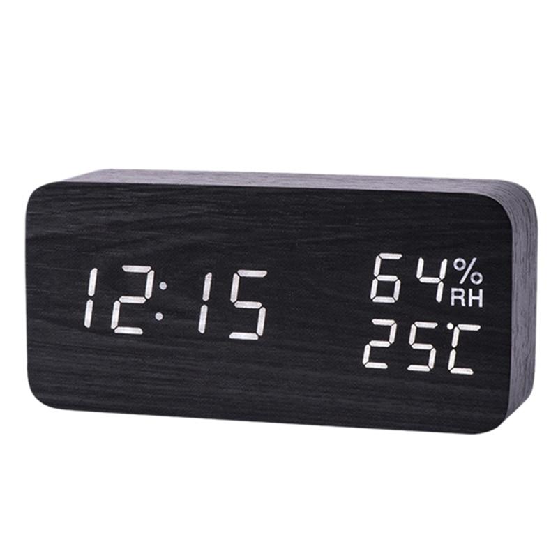 LED Wooden Alarm Clock Watch Table Voice Control Digital Wood Despertador Electronic Desktop USB/AAA Powered Clocks Table Decor(China)