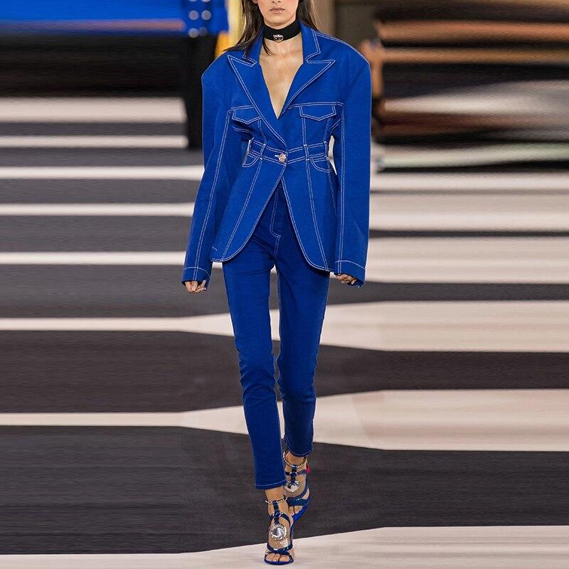 HIGH STREET 2020 Newest Fashion Designer Runway Blazer Jacket Women's Top Stitching Contrast Single Button Denim Blazer