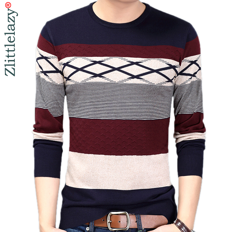 2019 Brand New Casual Thin Striped Knitted Pull Sweater Men Wear Jersey Mensluxury Pullover Mens Sweaters Male Fashions 81003