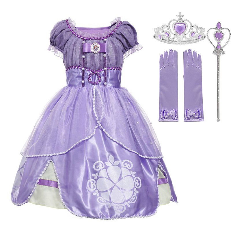MUABABY Girls Sofia Princess Costume Children 5 Layers Floral Sophia Party Gown Girl Halloween Fancy Dress up Outfit Clothes|summer dress girl|dress girl|tutu dress - title=