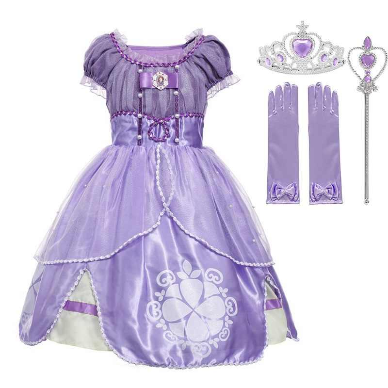 MUABABY kız Sophia prenses kostüm çocuk 5 kat çiçek Sophia parti kıyafeti kız cadılar bayramı süslü elbise up kıyafet giysileri