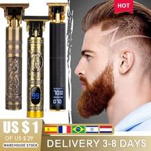 Sem fio máquina de cortar cabelo dos homens barbeiro 0mm profissional buda dragão elétrica máquina de corte cabelo barba barbear outliner trimmer kit