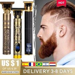 Cordless Men Hair Clipper Barber 0mm Professional Buddha Dragon Electric Hair Cutting Machine Beard Shaving Outliner Trimmer Kit