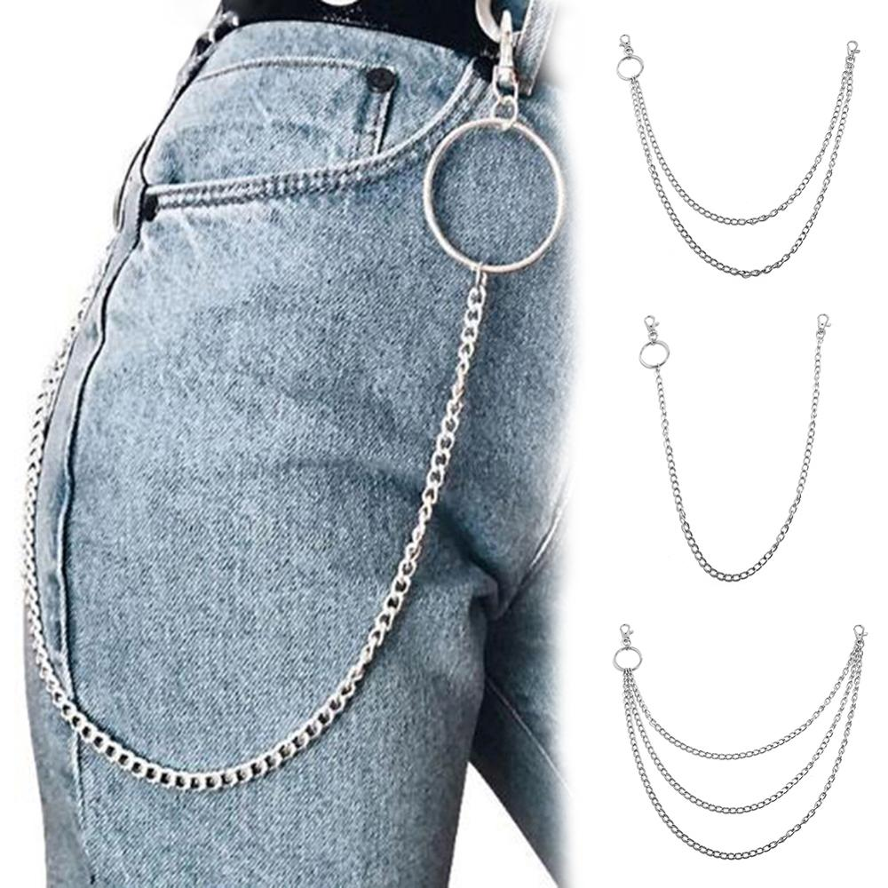 1PC Fashion Long Trousers Hipster Key Chains Punk Street Big Ring Metal Wallet Belt Chain Pant Keychain Unisex Hip Hop Jewelry