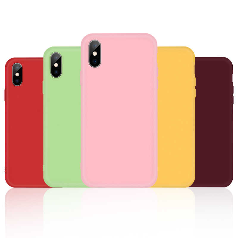 สำหรับ iPhone 11 PRO MAX กรณีสีทึบสำหรับ iPhone 6 6 S 7 8 PLUS Soft ซิลิโคนสำหรับ iPhone 11Pro X XS MAX XR 5 5 S กลับ Capa