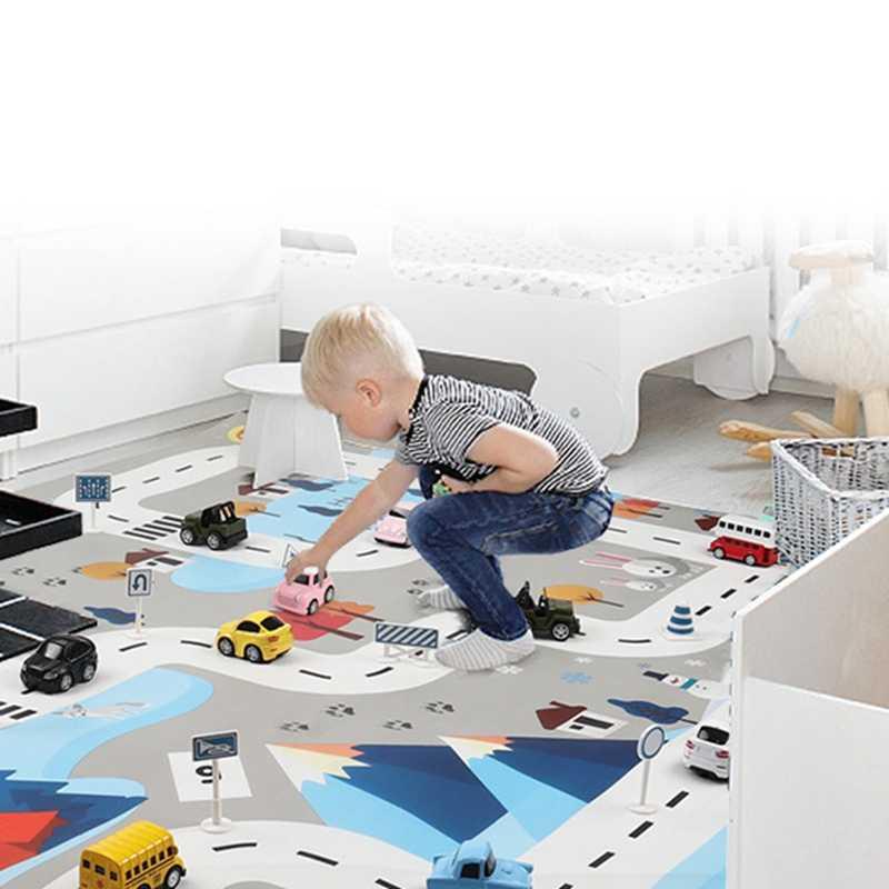 Speelgoed Auto Mat Kaart Kinderen Spelen Gebied Tapijt Pad Stedelijke Weg Kaart Game Inklapbare Building Parkeerplaats 130X100CM