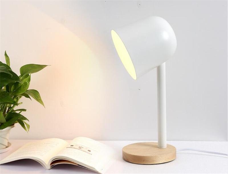 Mini ferro simples candeeiro de mesa de madeira olho proteger lâmpada de mesa lampara de mesa - 5