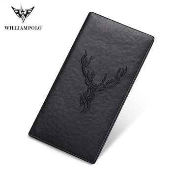 WilliamPolo short Wallet men slim Credit Card Holder Bifold Genuine Leather  Multi Card Case Slots Cowhide Deer Totem Ultra-thin williampolo 2019 men wallet short bifold credit card holder genuine leather organizer slim multi card case business casual purse