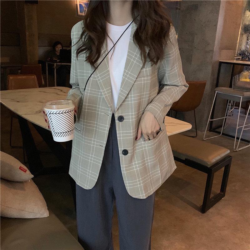 HziriP Retro Plaid Loose All-Match Leisure 2019 Casual Streetwear Autumn Female Tops OL Brief Women Stylish Vintage Blazers