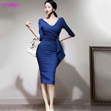 лучшая цена 2019 autumn clothing hot new professional temperament V-neck seven-point sleeves waist hip   dress