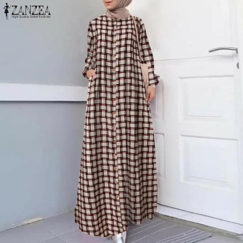 Casual Islamic Clothing Robe Muslim Fashion Dress Spring Maxi Long Dress Women Long Sleeve Button ZANZEA Vintage Hijab Sarafans 2