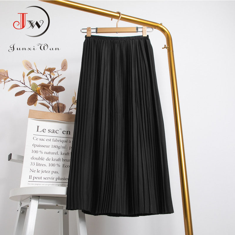 Women Summer Solid Pleated Skirt 2021 High Elastic Waist Elegant Office Ladies Romantic Midi Skirt Female Saia Faldas White 2