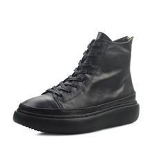 Vintage Lace Up Men Boots British Black Platform Height Increasing Ankle Boots Brand