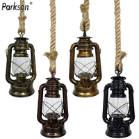 Retro Pendant Lights E27 Hemp Rope Lantern Hang Lamp Vintage Industrial Hanglamp Loft Home decoration lamp Indoor Bar light