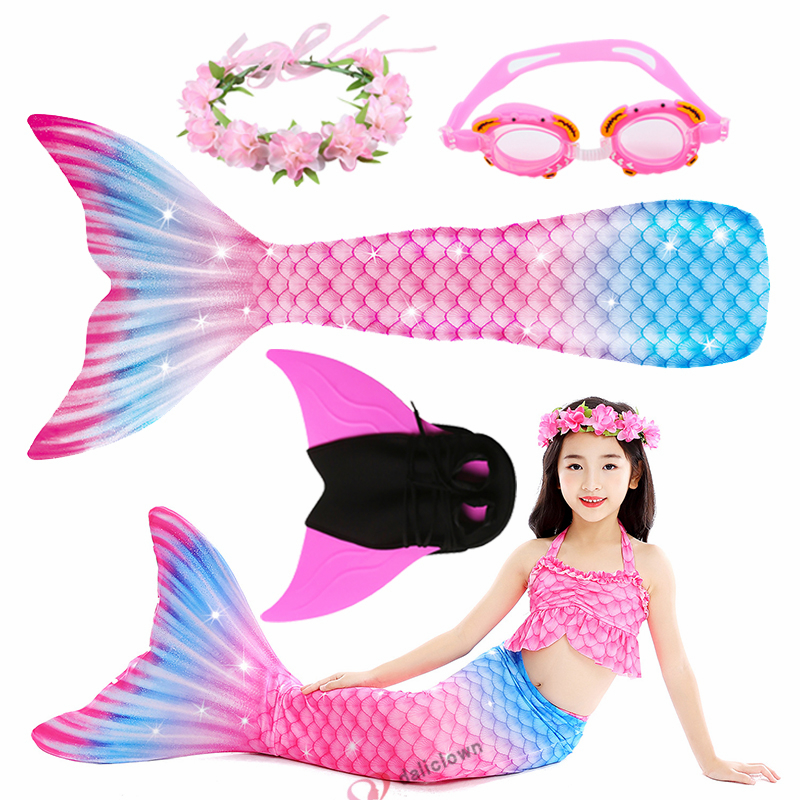 New 2020 Little Mermaid Tail For Girls Cosplay Mermaid Costume Swimming Bathing Suit Beach Wear With Monofin Fin