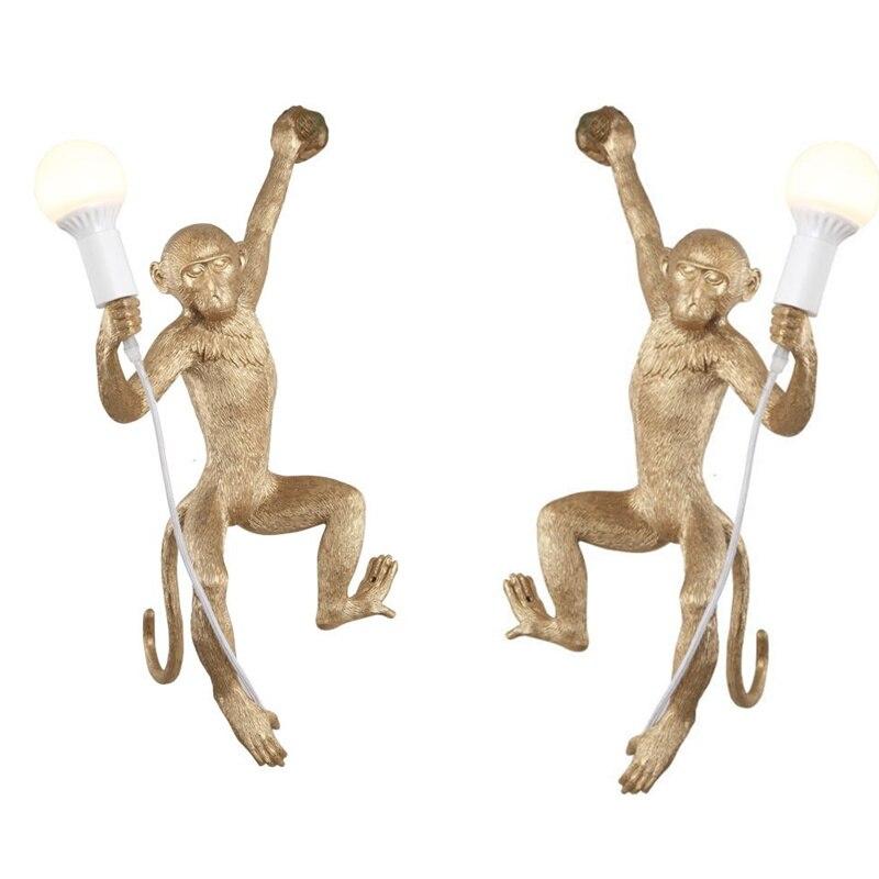 Nordic Twins Resin Monkey Lamp E27 Led Wall Lamp Creative 3D Monkey Living Room Led Wall Light Bedroom Wall Lighting LED Indoor Wall Lamps Lights & Lighting - title=
