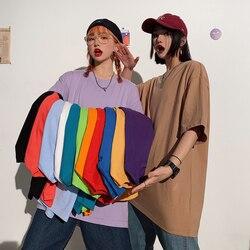 2021 Summer short sleeve T-Shirt Women Tee Shirt Loose Solid Basic T Shirt Women Casual O-neck Hipster Tshirt Top XXL