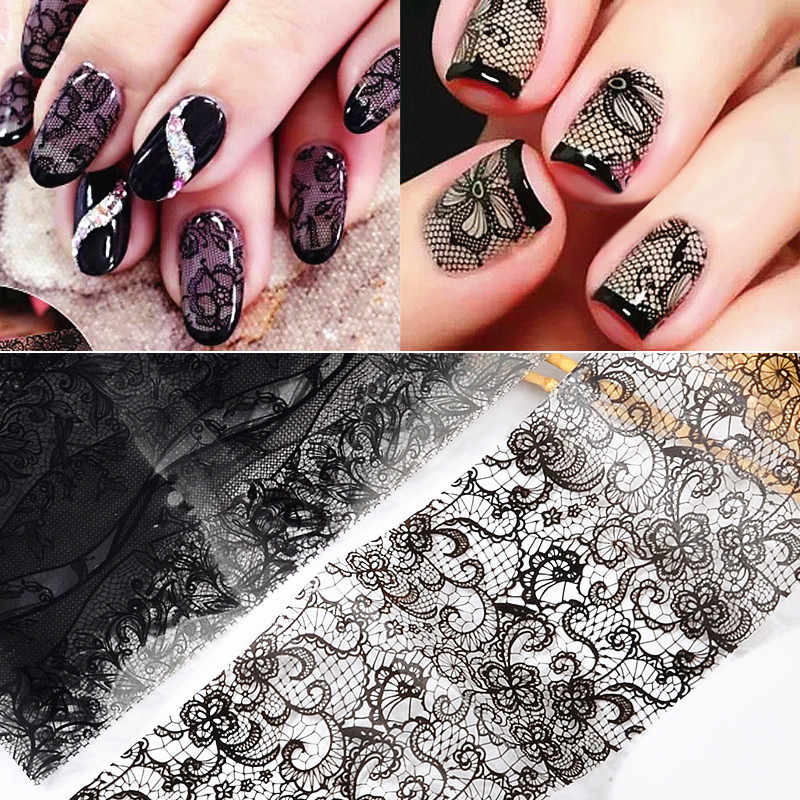 Black Lace Nail Art  Transfer Foil Sexy Full Wraps Flower Design Glue Adhesive DIY Manicure Slider Styling Makeup Tools 20x4cm