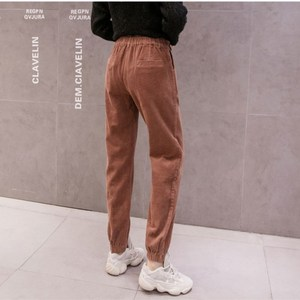 Image 5 - Pantalones de pana para mujer, pantalón de cintura alta, de talla grande pantalones bombachos, monos de moda, pantalones de viga para mujer, Otoño Invierno