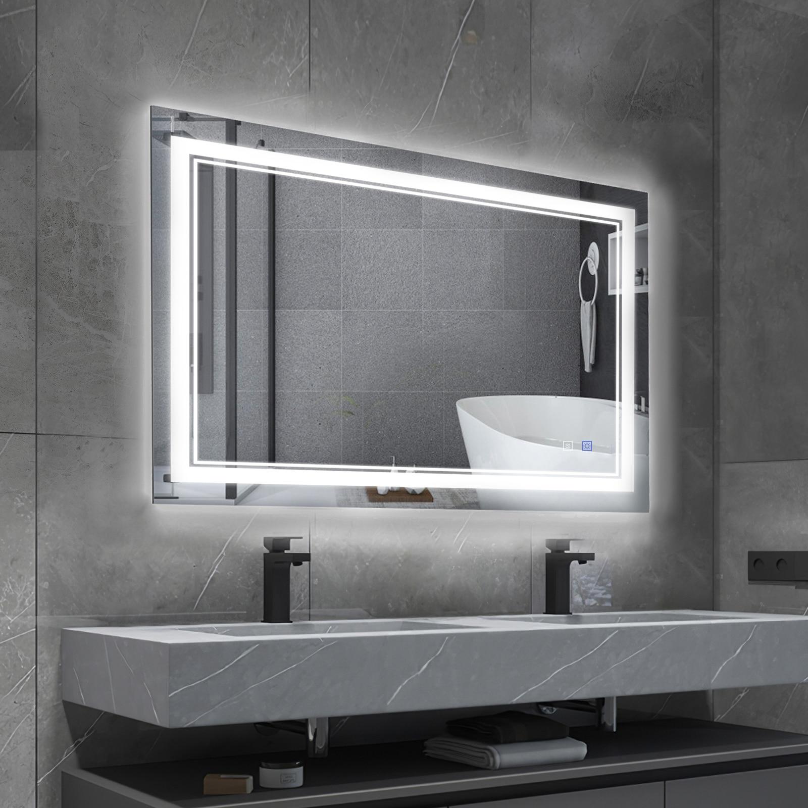 BBE Bath Mirror Smart Mirror LED Bathroom Mirror Dimmable Backlight Anti-fog Wall-mounted Makeup Mirror 32x24 inch