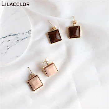 Lilacolor Wooden Vintage S925 Silver Pins Women Drop Earrings Small Dangle Earring Square Wood Fashion Jewelry Accessories - DISCOUNT ITEM  42% OFF All Category