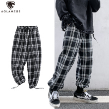 Aolamegs Pants Men Cool Plaid Print Thin Pants Casual Trousers Men?s Harajuku Drawstring Loose All-match Sweatpants Streetwear