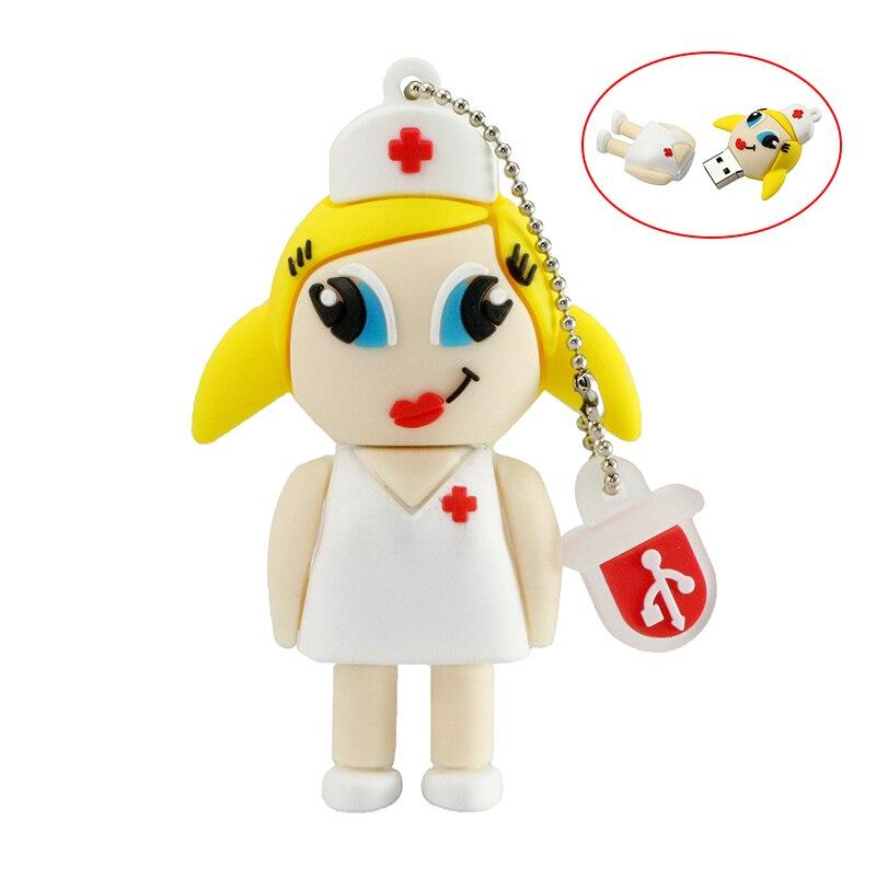 Flash Drive USB Cute Nurse USB Pendrive Thumb Drives 16GB 8GB 32GB 128 256 GB Pendrive Memory Stick Cle USB 2.0 Creative Gift