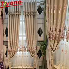 Drapes In Living Room Luxury Beige Curtains with Flower Embroidery for Bedroom Blue/Purple Window Treatment Sheer Tulle WH137#30