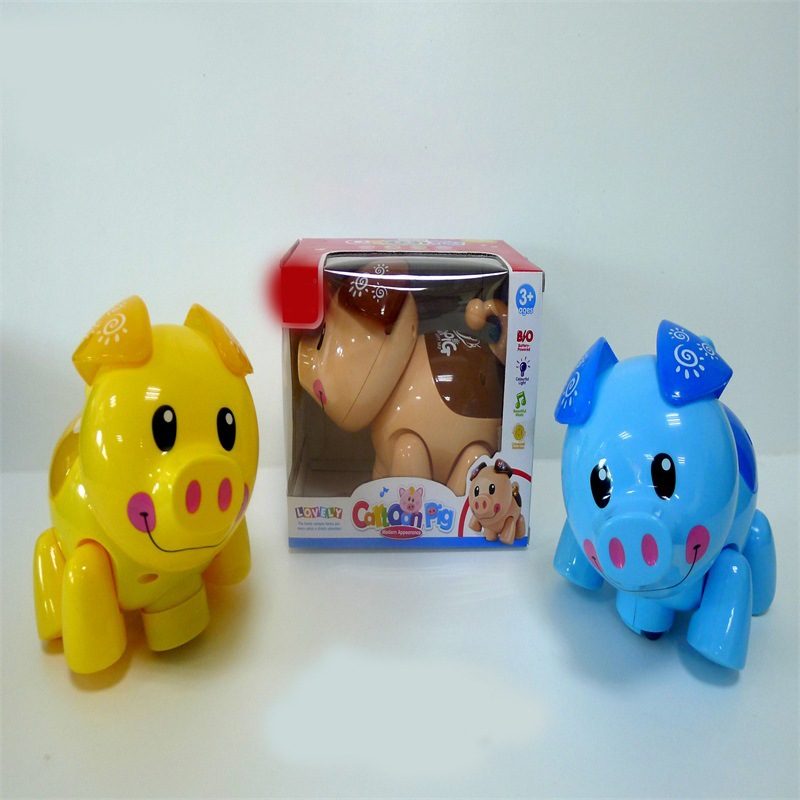 Hot Selling Electric Light And Sound Universal Piggy  Cartoon Animal Children Electric Mini Pet Lucky Pig Toy