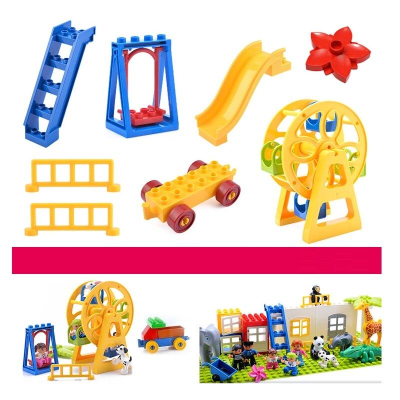 Big Size Blocks Accessories Toys Compatible Duploed Brick DIY Building Bricks Ferris Wheel Seesaw Parts For Children Kids Gift