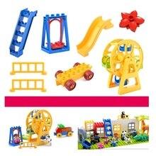 Juguetes de bloques de gran tamaño compatibles con bloques de construcción DIY, piezas de balancín de noria para niños, regalo para niños