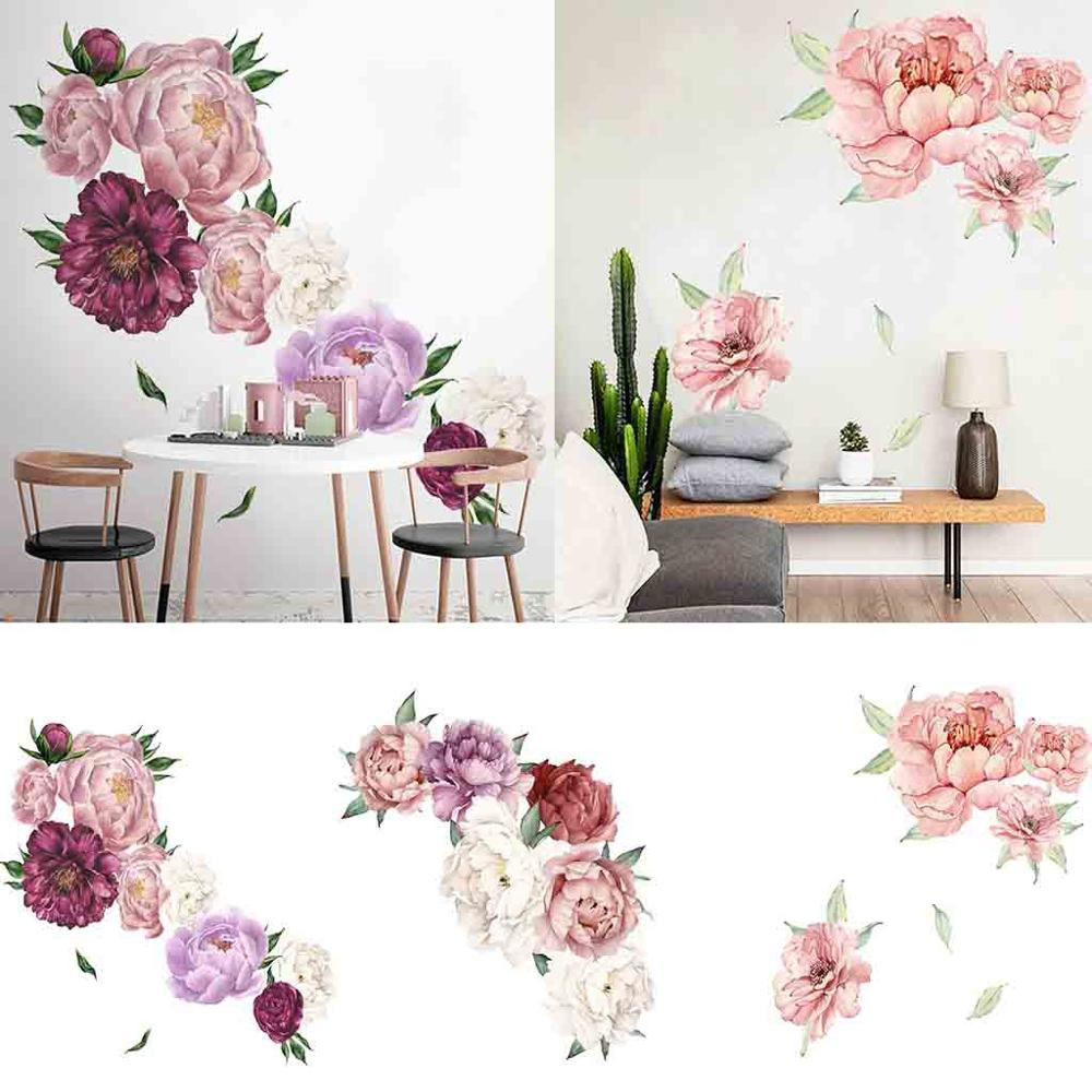 Blooming Peony Wall Sticker Chinese Rose Flowers Beautiful Art Nursery Decals Kids Room Home Decoration Gift