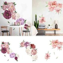 Blooming Peony Wall Sticker Chinese Peony Rose Flowers Wall Sticker Beautiful Art Nursery Decals Kids Room Home Decoration Gift my43 xdzs 22 23 2pcs chinese bird plant flowers print art